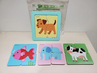 巧連智可愛動物拼圖2片3片4片厚紙制
