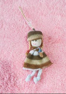 秋季女孩針織木頭吊飾