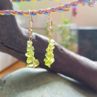 天然橄欖石耳鉤(耳環)