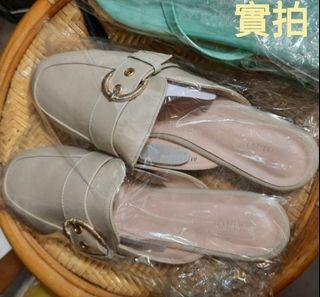 韓國 皮革圓頭側扣半包拖鞋*米色40號*穆勒鞋平低鞋*全新