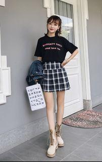 品名: 秋冬款學院風高腰半身裙百褶裙A字裙毛呢格子裙褲裙短裙(順折黑白色)(S) J-13492