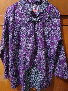 Baju atasan batik ungu unik dan casual
