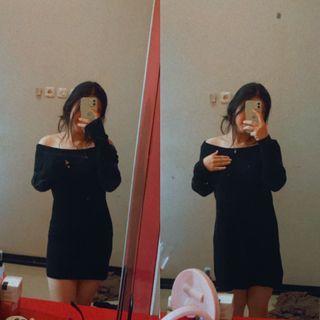 black sabrina mini dress