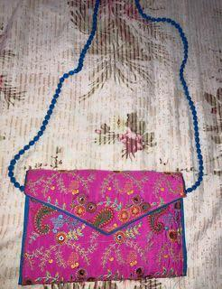 Embroidered Pink unique Bag