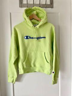LIME GREEN CHAMPION WOMENS HOODIE SIZE M