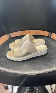 NEW GOLD WHITE GEOX SANDALS SIZE 41