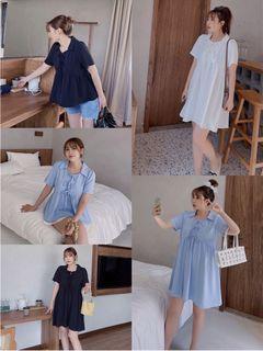 Plus Size Lace Up Babydoll Dress/Blouse
