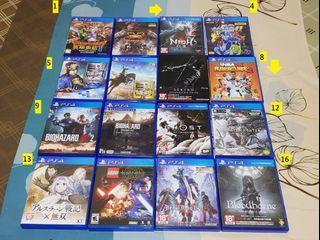 PS4隻狼、對馬戰鬼、血源、惡靈古堡系列等等遊戲片(價格請看內文)