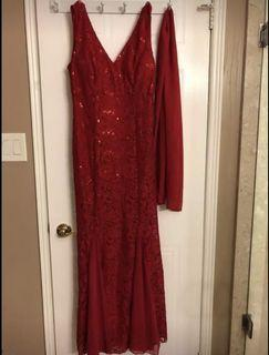 Red Sequin Lace Dress