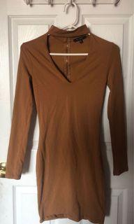 REVAMPED Long Sleeve Bronze Fitted Dress with Choker