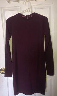 SEDUCTIONS (Sirens) Long Sleeve Burgundy Fitted Dress