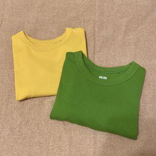 Uniqlo糖果色挺版短袖上衣(草綠/芥黃)