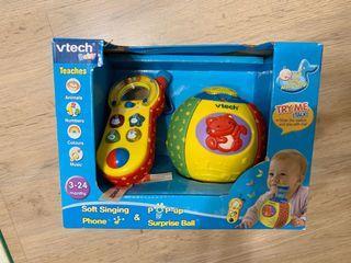 全新Vtech寶寶歡樂學習組(驚喜跳跳球+聲光手機)