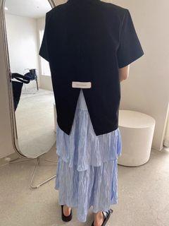 正韓/5K雪熙家/態度布標墊肩設計長版上衣