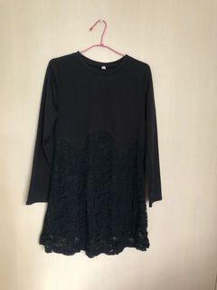 黑色長袖蕾絲洋裝