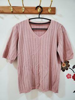 坑條短袖v領上衣粉色親膚針織上衣