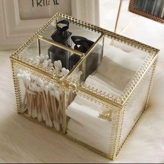 電鍍金邊玻璃棉花棒化妝棉化妝品收納盒