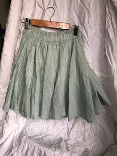 粉嫩綠伸縮腰圓裙