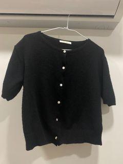 正韓黑色針織短袖小外套#支持