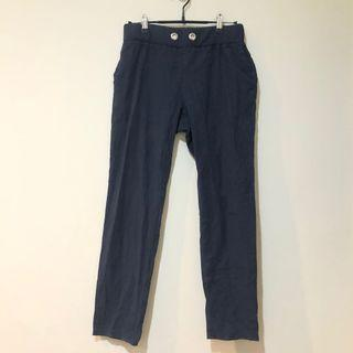韓製 藍黑色寬褲 #618
