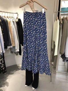 夏季新款 氣質百搭高腰休閒碎花中長裙 半身裙