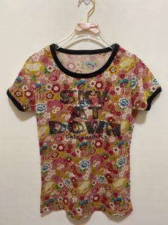短袖上衣 純棉 圓領 短袖 T恤 短T 花花上衣 休閒上衣女版-玫瑰粉色 豆沙色 日系彩色印花 沒穿過