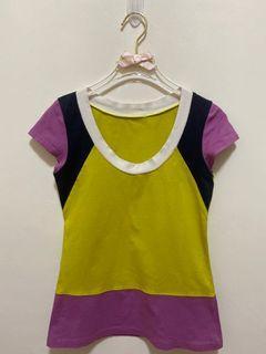 短袖上衣 純棉 圓領 U領 短袖 T恤 彈性 短T 休閒上衣女版-黃綠色粉紫色深藍色拼接
