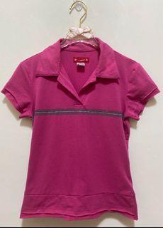 短袖上衣  翻領短袖 T恤 彈性 polo衫 休閒上衣女版-桃紅色 沒穿過