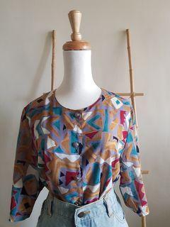 二手 vintage 古著 超美日本製復古紫灰底幾何色塊圓領五分袖襯衫