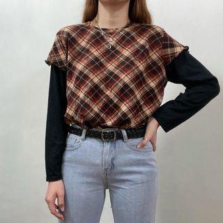 Argyle Sweater High Neck Sweatshirt Pullover