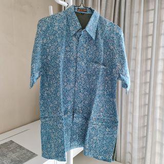 Kemeja Batik Biru motif timbul