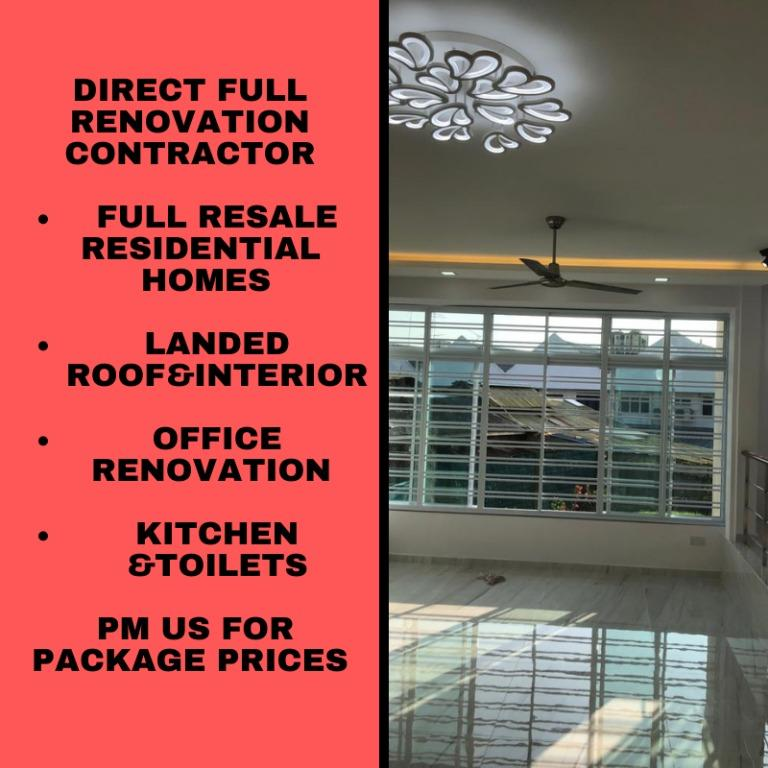 Direct Contractor Works Reno Renovation, S H Glass Contractor Pte Ltd