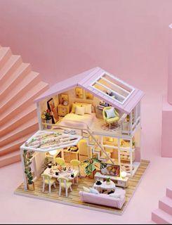 DIY小屋模型 蜜語時光 包防塵罩 Led燈 遙控開關 生日禮物