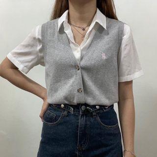 Grey Vest Button Up Top