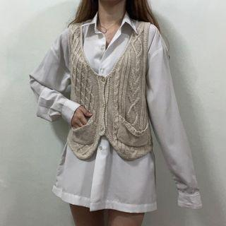 Knit Vest Eyelet Beige Cottage Core Knit Wear