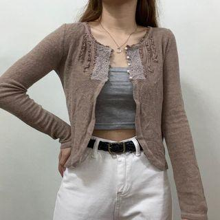 Knitted Cardigan Lace Embroidery Cottage Core