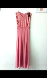 NEW Longdress No Slevees Dusty Pink #Murah