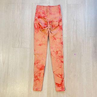 全新❤️S號歐美橘色高腰彈性提臀扎染九分運動褲