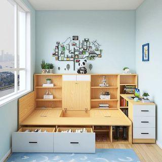 SH-215單人床帶書桌簡約榻榻米床櫃一體高箱儲物床組合,可定制尺寸(包運送)