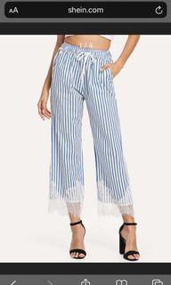 SHEIN Stripe Blue Pants