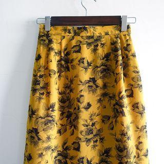 Slowly古著/Vintage/古典花卉/古著裙/日本製