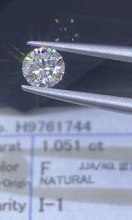 閃!閃!天然鑽石日本証1.051卡 F色  I1  G/VG/G  N  HKD$16800。設18K鑲嵌服務