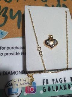 18k Saudi yellowgold pendant and necklace