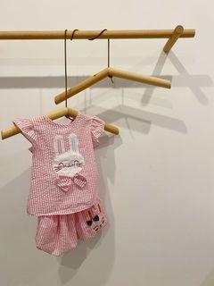 粉色兔子荷葉無袖短褲套裝