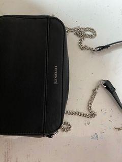 黑色鏈條雙層側背包