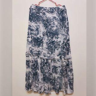 水墨畫鬆緊長裙