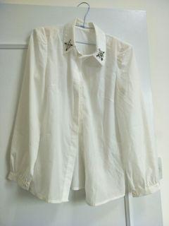 鑽飾 墊肩 白色 微透 絲滑 襯衫