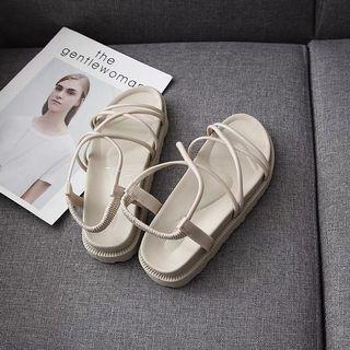 全新 米白色羅馬涼鞋 厚底沙灘涼鞋 百搭露趾涼鞋 白色涼鞋 休閒穿搭涼鞋