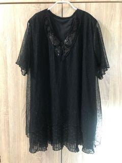 春夏 正韓  寬鬆版 黑紗洋裝 蕾絲 打褶 手工縫飾