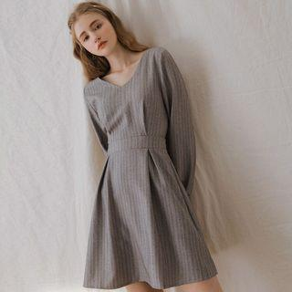Air space 木質紋路縮腰連身裙